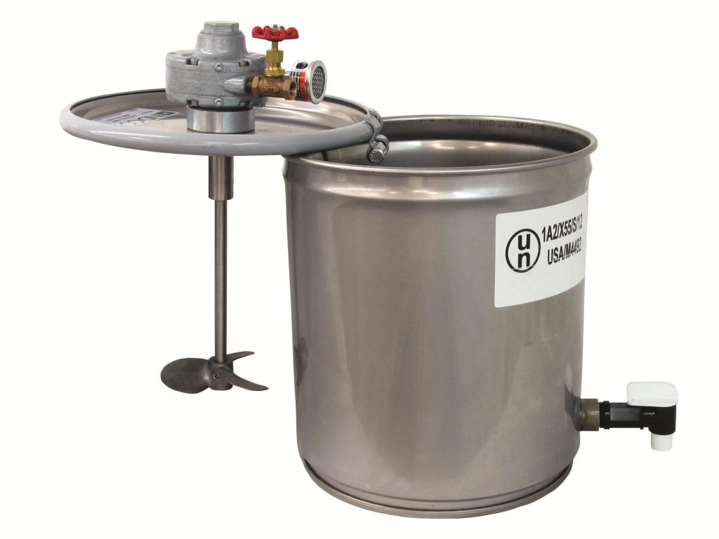 3/4 HP Air Mixer with 5-Gallon SS Pail and Dispensing Valve